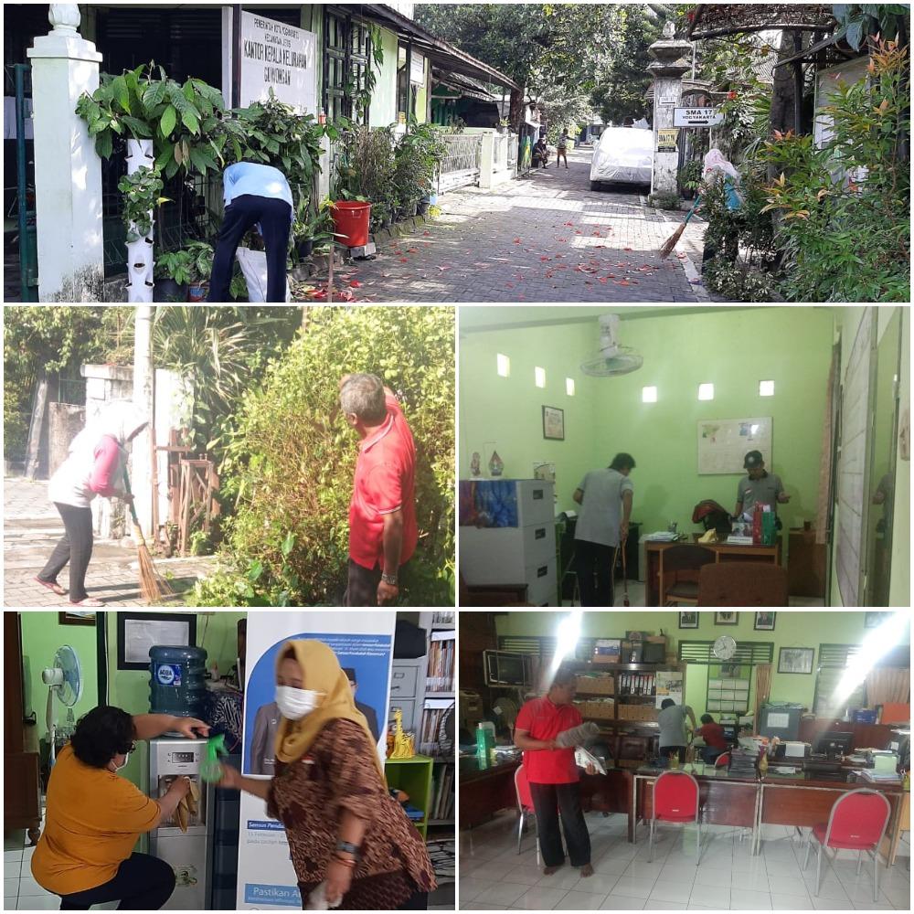 Kerja Bakti Mencegah Penyebaran Virus Covid19 di Kantor Kelurahan Gowongan